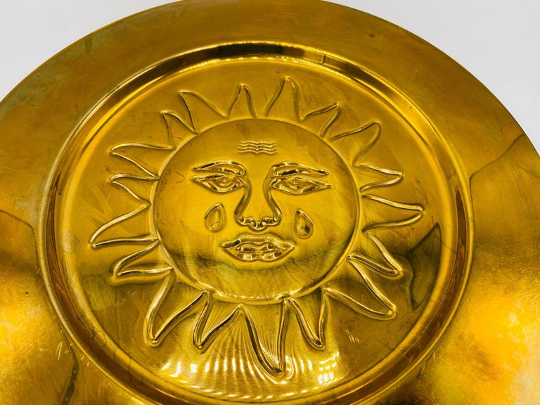1970s Italian Brass Sun Charger Plates, Set of 6 In Good Condition For Sale In Richmond, VA
