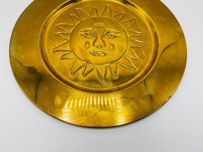 20th Century 1970s Italian Brass Sun Charger Plates, Set of 6 For Sale