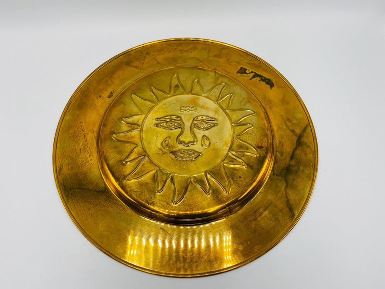 1970s Italian Brass Sun Charger Plates, Set of 6 For Sale 1