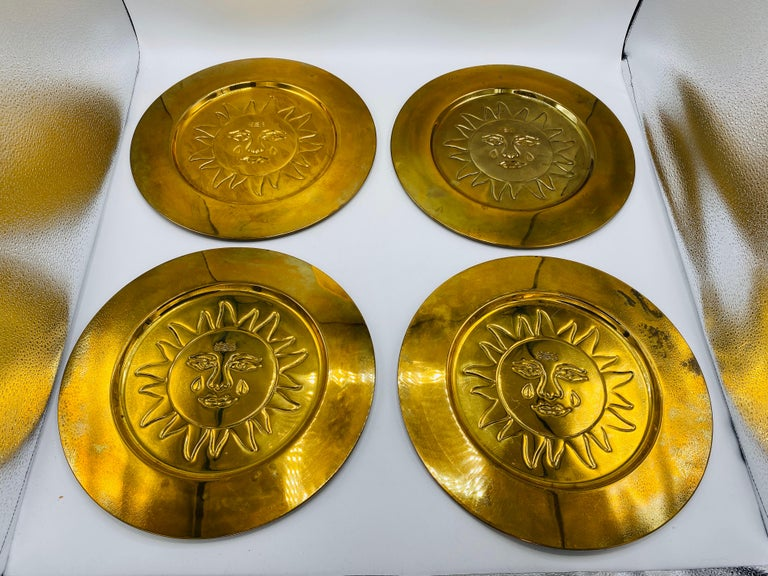1970s Italian Brass Sun Charger Plates, Set of 6 For Sale 2