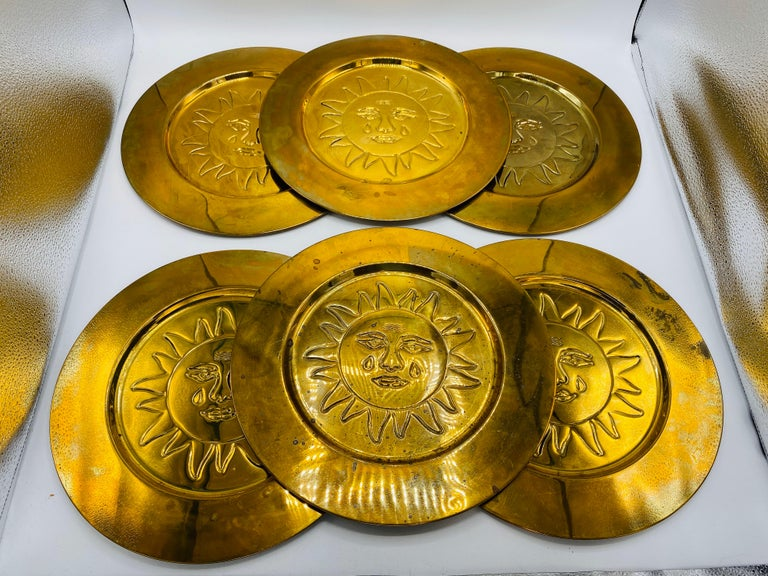 1970s Italian Brass Sun Charger Plates, Set of 6 For Sale 3