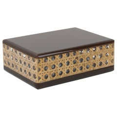 1970s Italian Brown Lucite and Rattan Box