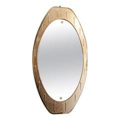 1970s Italian Bubble Detail Oval Framed Mirror