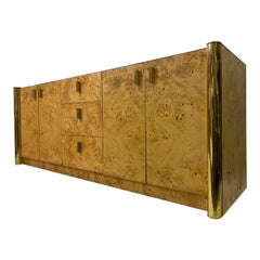 1970s Italian Burl Wood and Brass Sideboard or Credenza