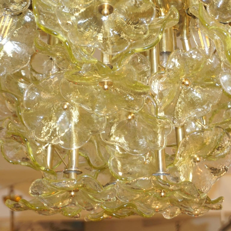 1970s Italian Buttercup Yellow Murano Glass Flower Brass Chandelier/Flush Mount For Sale 5
