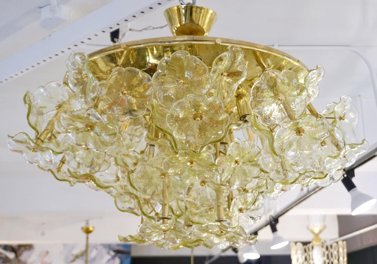 1970s Italian Buttercup Yellow Murano Glass Flower Brass Chandelier/Flush Mount For Sale 8