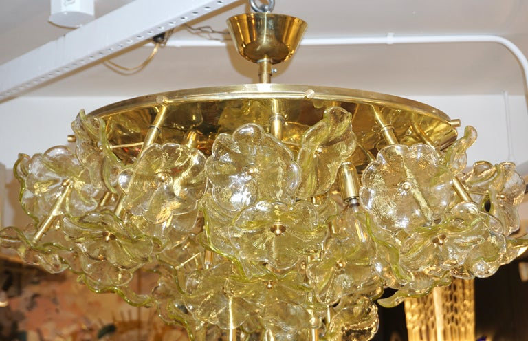 1970s Italian Buttercup Yellow Murano Glass Flower Brass Chandelier/Flush Mount For Sale 7