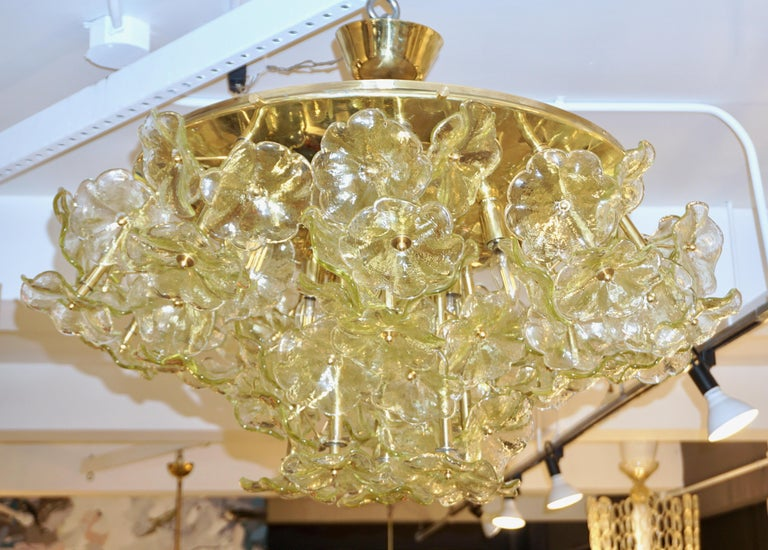 Mid-Century Modern 1970s Italian Buttercup Yellow Murano Glass Flower Brass Chandelier/Flush Mount For Sale