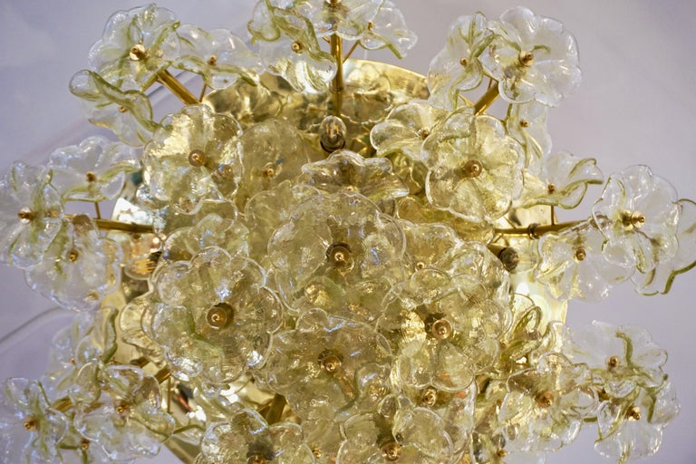 1970s Italian Buttercup Yellow Murano Glass Flower Brass Chandelier/Flush Mount In Good Condition For Sale In New York, NY