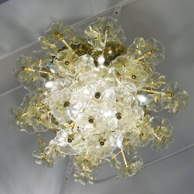 1970s Italian Buttercup Yellow Murano Glass Flower Brass Chandelier/Flush Mount For Sale 1