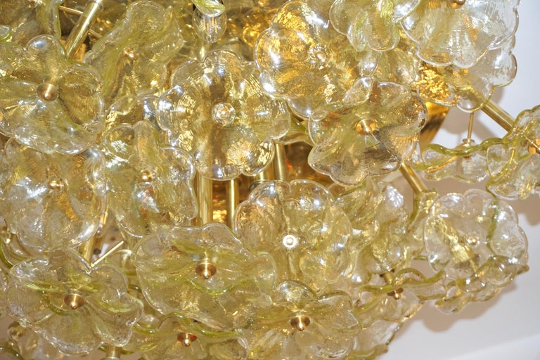 Hand-Crafted 1970s Italian Buttercup Yellow Murano Glass Flower Brass Chandelier/Flush Mount For Sale