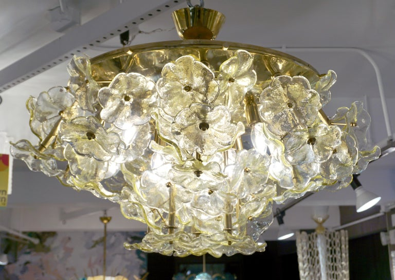 Late 20th Century 1970s Italian Buttercup Yellow Murano Glass Flower Brass Chandelier/Flush Mount For Sale