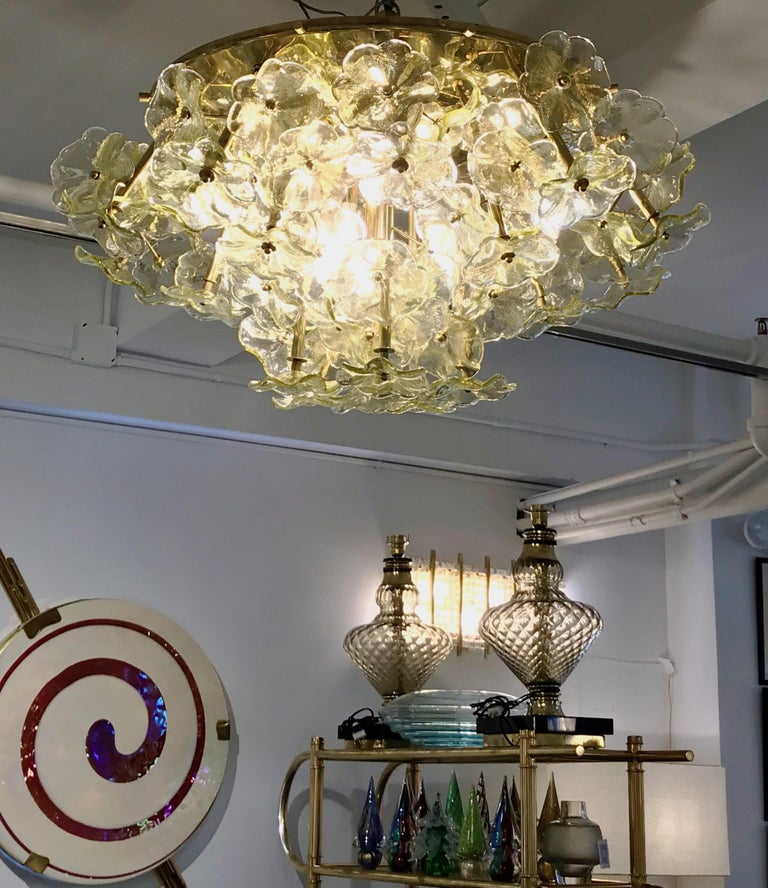 1970s Italian Buttercup Yellow Murano Glass Flower Brass Chandelier/Flush Mount For Sale 3