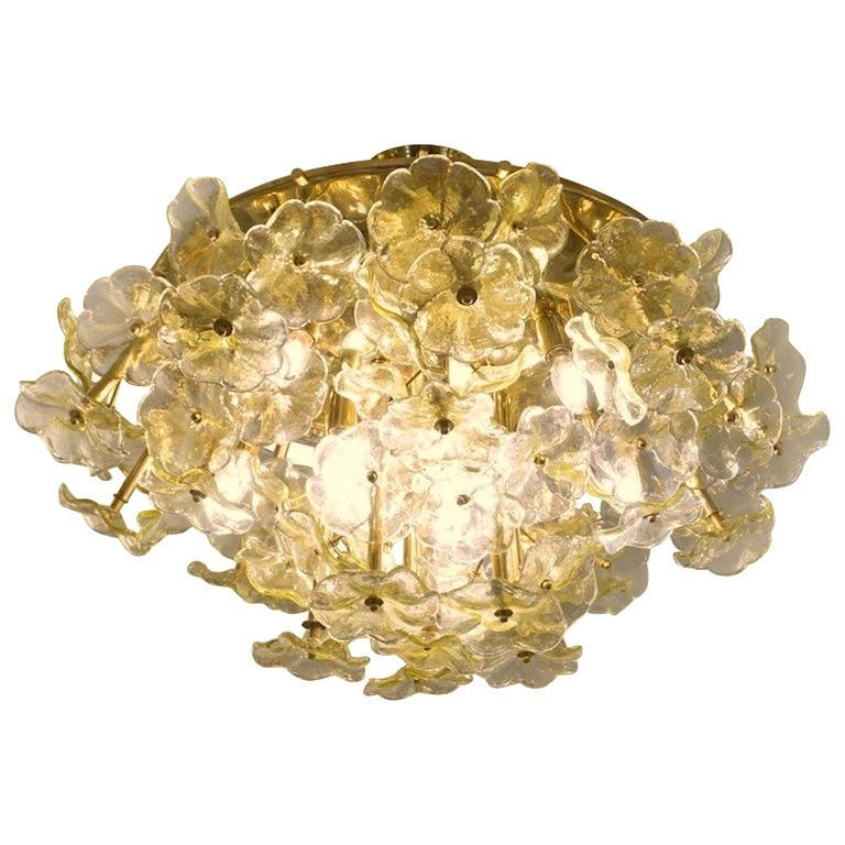 1970s Italian Buttercup Yellow Murano Glass Flower Brass Chandelier/Flush Mount For Sale