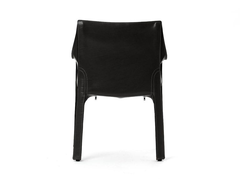 1970s Italian Cab Armchair by Mario Bellini for Cassina in Black Leather For Sale 1