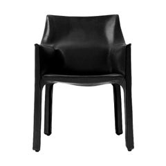 1970s Italian Cab Armchair by Mario Bellini for Cassina in Black Leather
