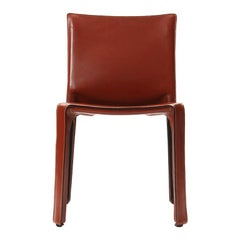 1970s Italian Cab Side Chair in Orange Red Leather by Mario Bellini for Cassina