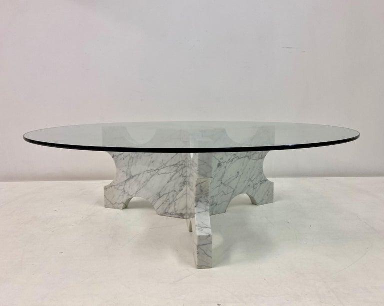 Mid-Century Modern 1970s Italian Carrara Marble Coffee Table For Sale