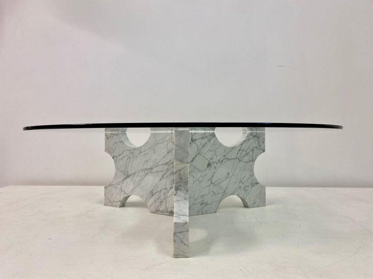 1970s Italian Carrara Marble Coffee Table For Sale 4