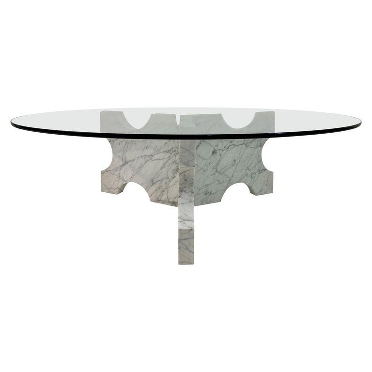 1970s Italian Carrara Marble Coffee Table For Sale