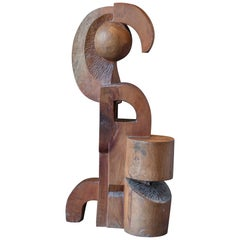 1970s Italian Carved Wood Abstract Sculpture Cubist Style