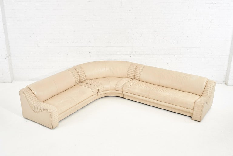 1970's Italian Casa Bella leather sectional sofa. Original leather is in great condition.