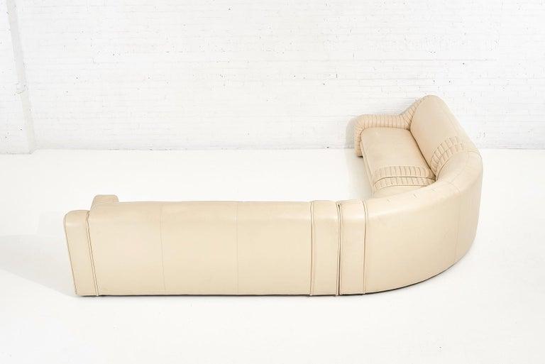 1970's Italian Casa Bella Leather Sectional Sofa For Sale 4