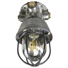 1970s Italian Cast Aluminium, Brass and Glass Explosion Proof Ceiling Light