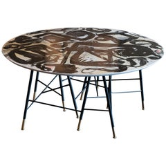 1970s Italian Center Table with Artistic Top in Style of Emilio Vedova