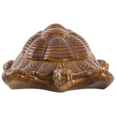 1970s Italian Ceramic Turtle Storage Box