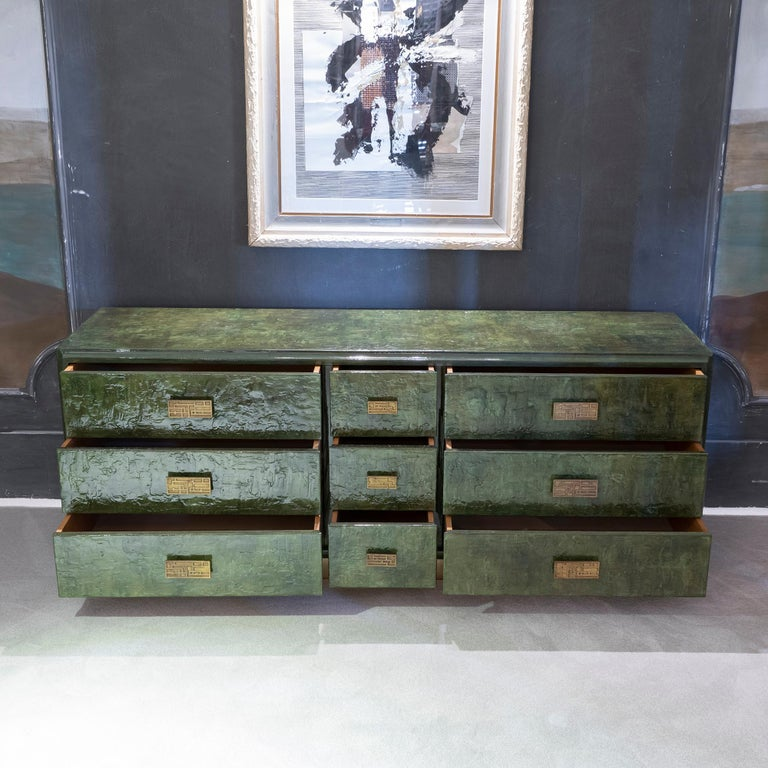 1970s Italian Chest of Drawers, Camouflage Green Epoxy Resins Ceramic Finish In Good Condition For Sale In Firenze, IT