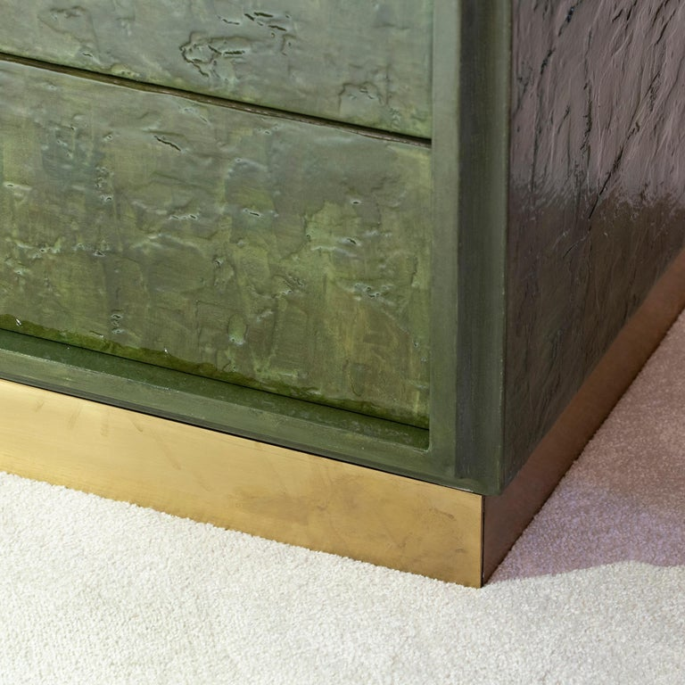 Late 20th Century 1970s Italian Chest of Drawers, Camouflage Green Epoxy Resins Ceramic Finish For Sale