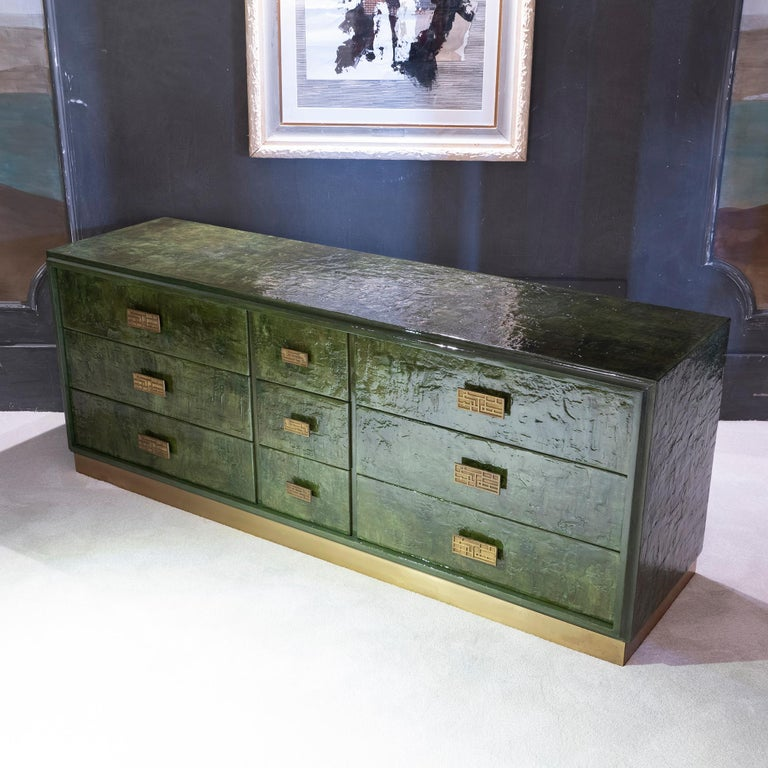 Brass 1970s Italian Chest of Drawers, Camouflage Green Epoxy Resins Ceramic Finish For Sale