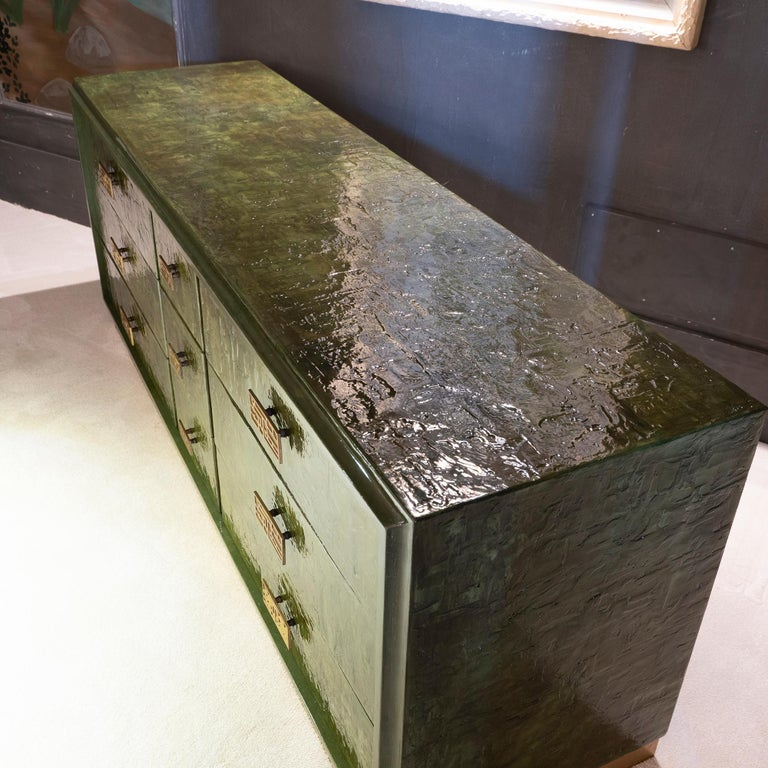 1970s Italian Chest of Drawers, Camouflage Green Epoxy Resins Ceramic Finish For Sale 2