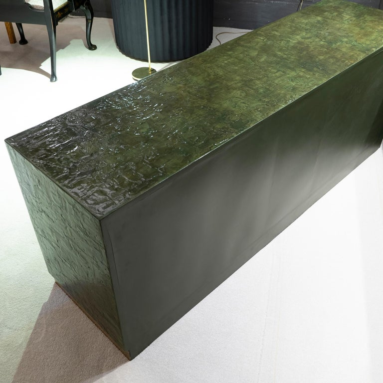 1970s Italian Chest of Drawers, Camouflage Green Epoxy Resins Ceramic Finish For Sale 4