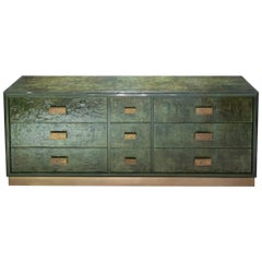 1970s Italian Chest of Drawers, Camouflage Green Epoxy Resins Ceramic Finish