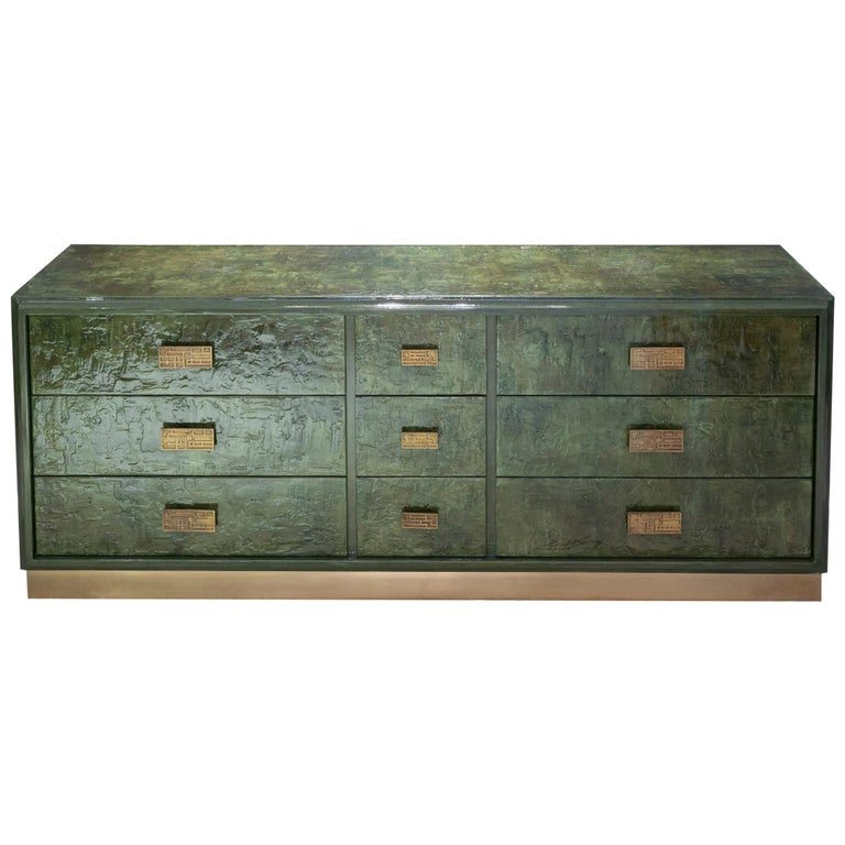 1970s Italian Chest of Drawers, Camouflage Green Epoxy Resins Ceramic Finish For Sale