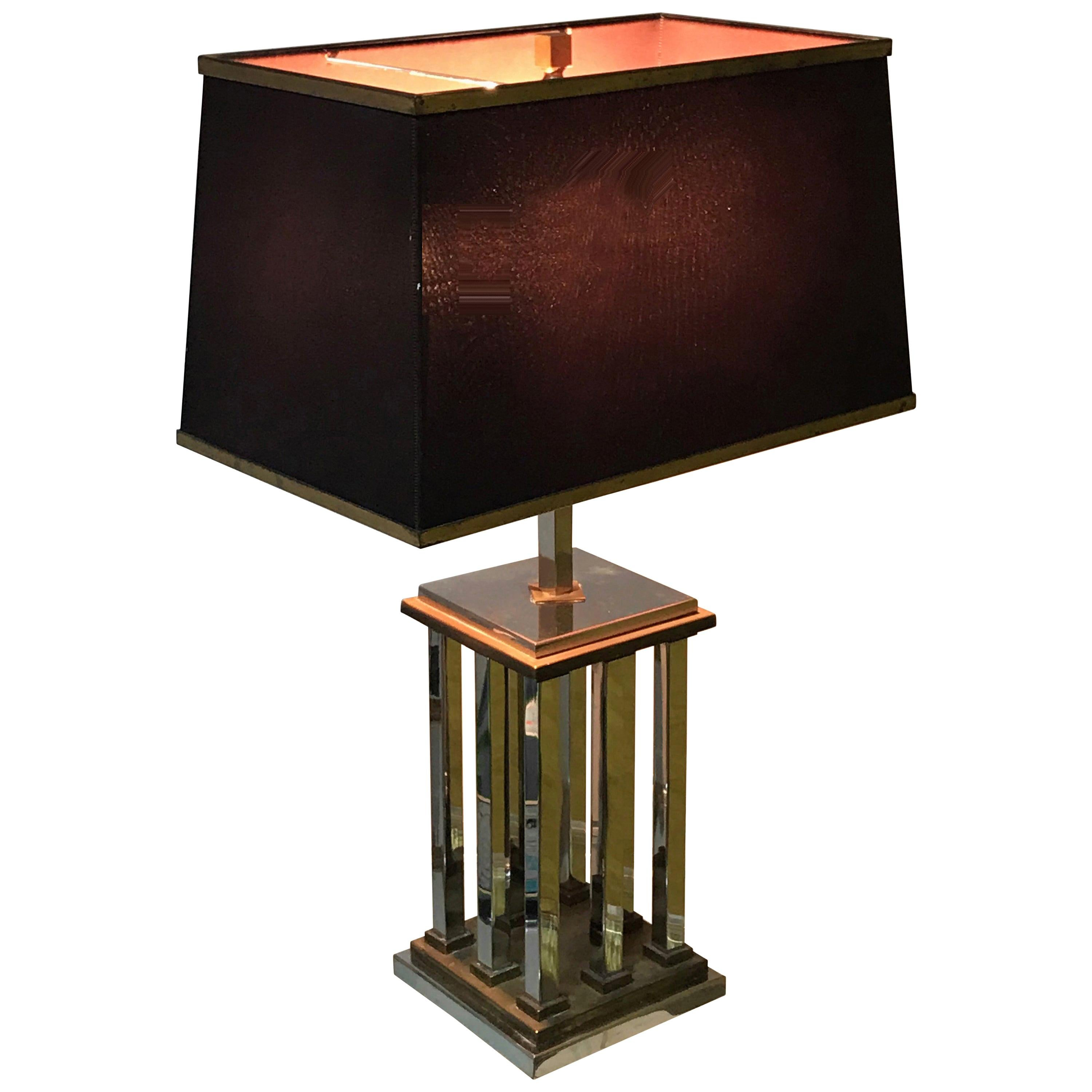 1970s Italian Chrome and Brass Lamp after Romeo Rega, Vintage Table Lamp, Italy