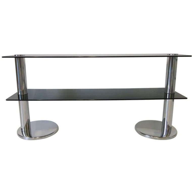 1970s Italian Chrome and Glass Console Table