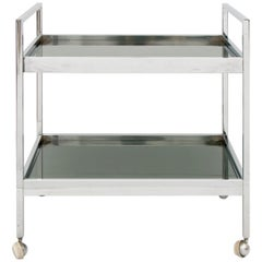 1970s Italian Chrome and Smoked Glass Bar Drinks Trolley or Cart