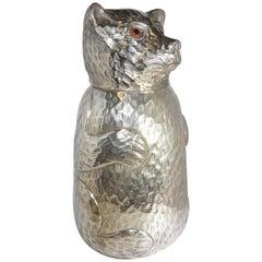 1970s Italian Silver Plated Bear Design Ice Bucket