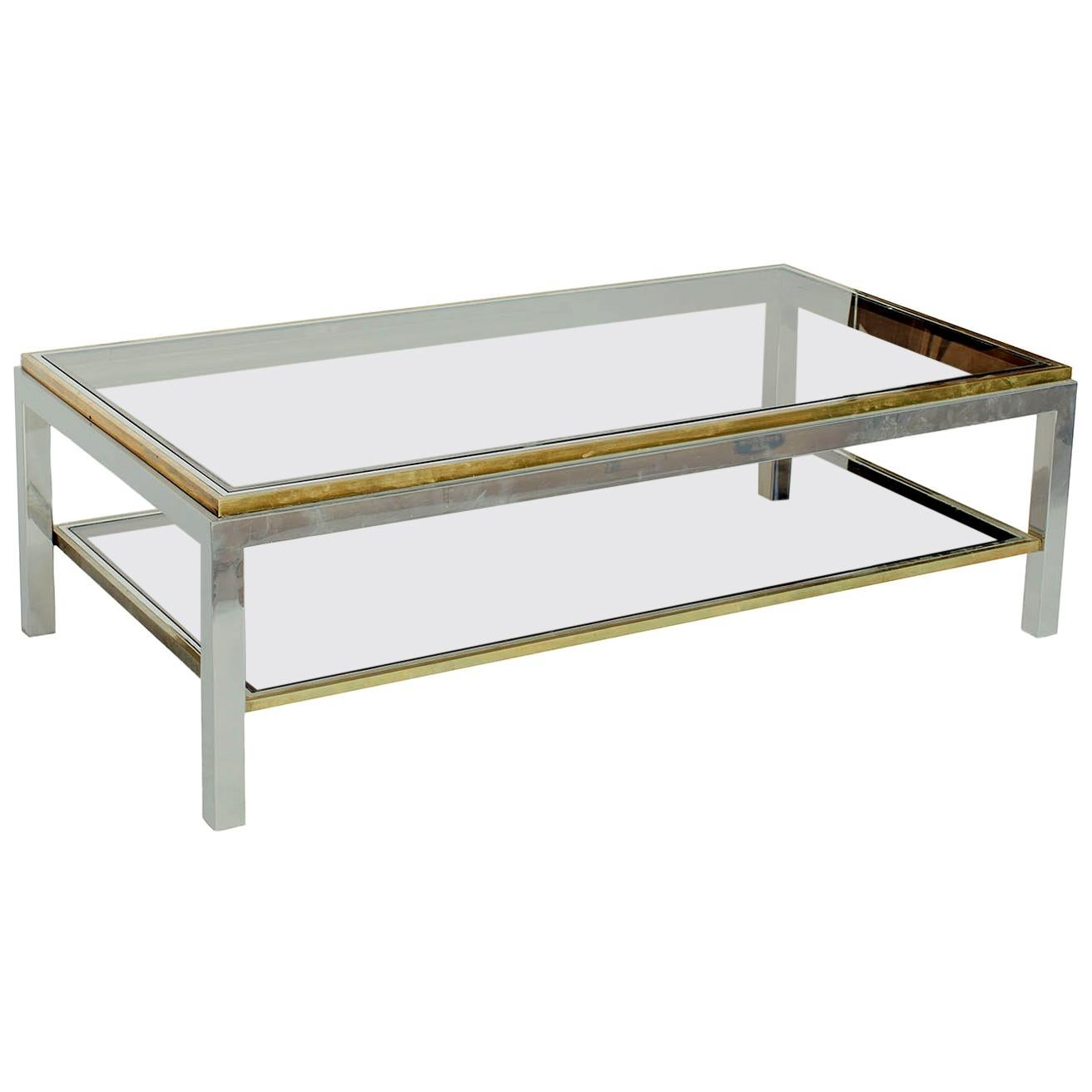 1970s Italian Chrome Brass Coffee Table with Smoked Glass by Willy Rizzo