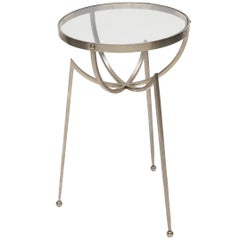 1970s Italian Chrome Side Table with Glass Top