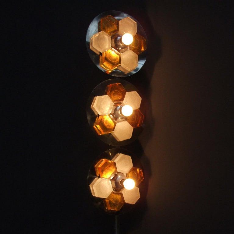 Mid-Century Modern 1970s Italian Chromed Steel and Glass Floor Lamp Albano Poli for Poliart For Sale