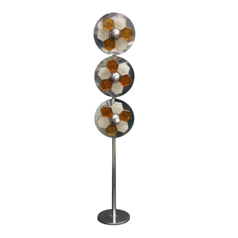 1970s Italian Chromed Steel and Glass Floor Lamp Albano Poli for Poliart For Sale
