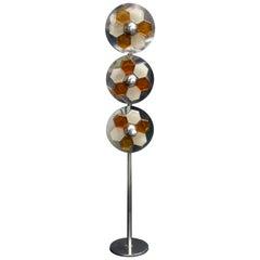 1970s Italian Chromed Steel and Glass Floor Lamp Albano Poli for Poliarte