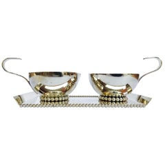 1970s Italian Creamer and Sugar Serving Set in Handcrafted Silver Plate Metal