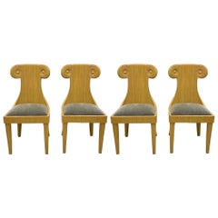 1970s Italian Pencil Bamboo Chairs with Klismos Form, Set of Four