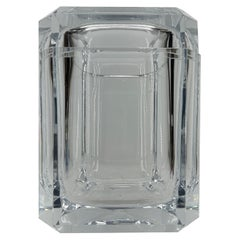 1970's Italian Cube Ice Bucket in Thick Lucite