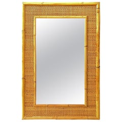 1970s Italian Dal Vera Bamboo Rattan Midcentury French Riviera Mirror